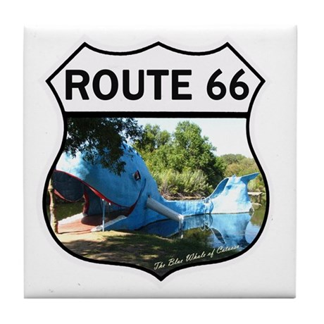 Discover History - Route 66 - Blue Wh Tile Coaster