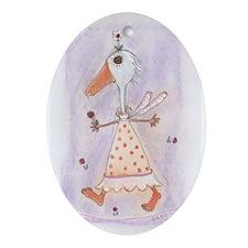 Silko Daisy Duck Oval Ornament