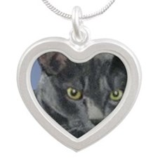 American Shorthair Gray Cat Silver Heart Necklace
