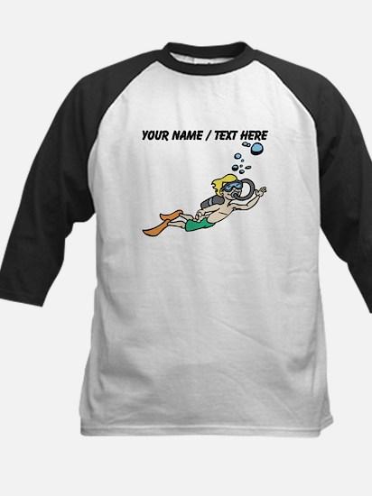 Custom Cartoon Scuba Diver Baseball Jersey