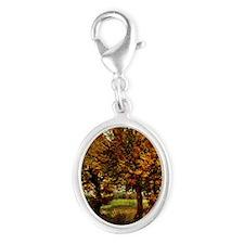 Van Gogh Autumn Landscape with  Silver Oval Charm