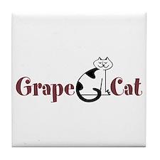 Grape Cat Tile Coaster