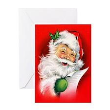 Winking Vintage Santa Greeting Card