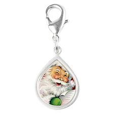 Winking Vintage Santa Silver Teardrop Charm