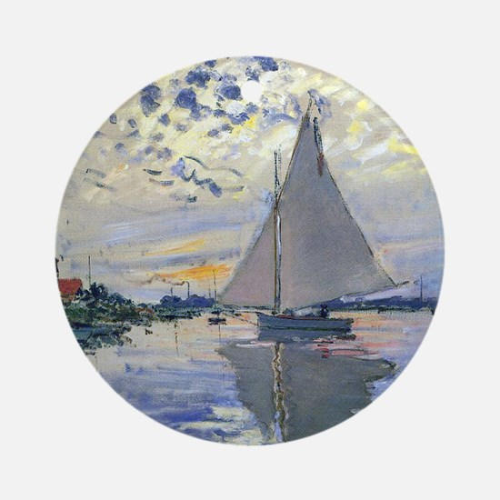 Claude Monet Sailboat Round Ornament