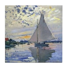 Claude Monet Sailboat Tile Coaster
