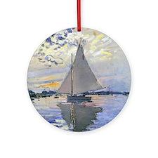 Claude Monet Sailboat Round Ornament