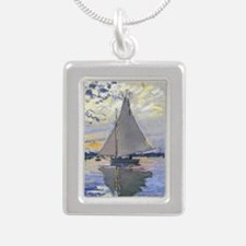 Claude Monet Sailboat Silver Portrait Necklace