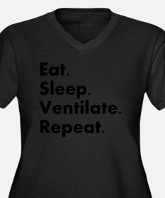 RT eat sleep Women's Plus Size Dark V-Neck T-Shirt