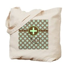 MEDICAL polka dots stetho brown mint Tote Bag