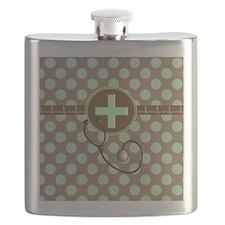 MEDICAL polka dots stetho brown mint Flask