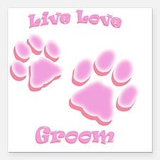 "Live Love Groom Square Car Magnet 3"" x 3"""