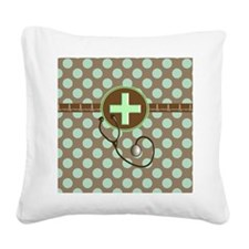 MEDICAL polka dots stetho bro Square Canvas Pillow