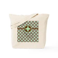 MEDICAL polka dots stetho brown mint Tote Bag