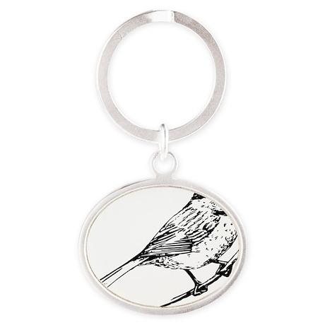 Chickadee Bird T-Shirt Oval Keychain