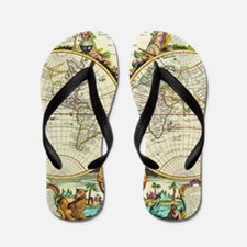 Vintage World Map Flip Flops