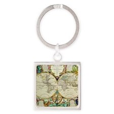 Vintage World Map Square Keychain