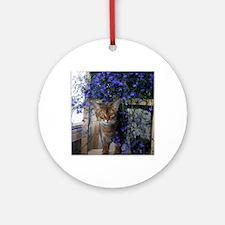 Flower Cat Round Ornament