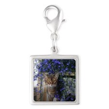 Flower Cat Silver Square Charm