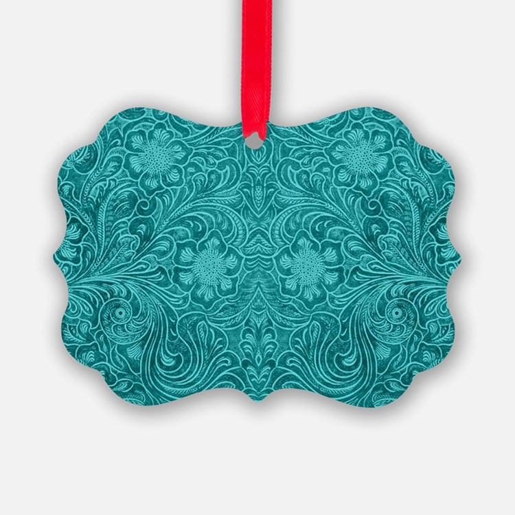 Leather Floral Turquoise Ornament