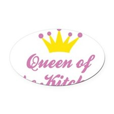 Queen of the Kitchen Oval Car Magnet