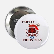 "Red Tartan Thistle Christmas 2.25"" Button"