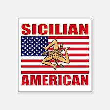 """sicilian american a(blk) Square Sticker 3"""" x 3"""""""