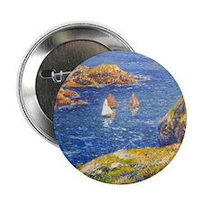 """Claude Monet Calm Sea 2.25"""" Button"""