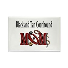 Black and Tan Coonhound Mom Rectangle Magnet