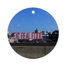 Eat Real Food Round Ornament