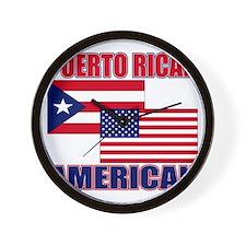 Puerto Rican AMERICAN pride Wall Clock