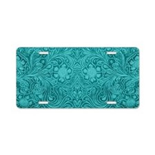 Leather Floral Turquoise Aluminum License Plate
