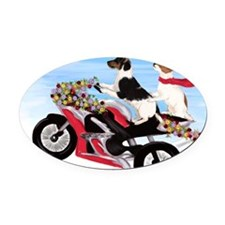 Jack Russell Terriers on a Motorcy Oval Car Magnet