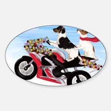 Jack Russell Terriers on a Motorcyc Sticker (Oval)