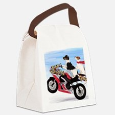 Jack Russell Terriers on a Motorc Canvas Lunch Bag