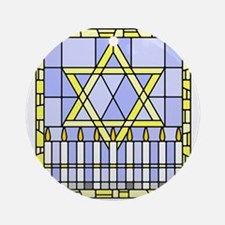 Star of David and Menorah stained glass Ornament (