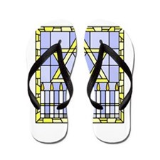 Star of David and Menorah stained glass Flip Flops