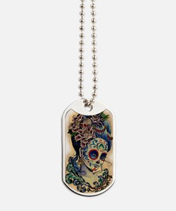Marie Muertos shower curtain Dog Tags