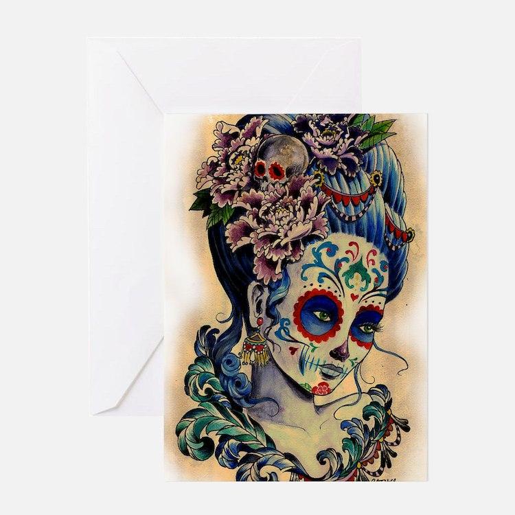 Marie Muertos shower curtain Greeting Card