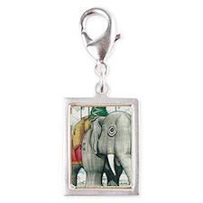 Lucy the Christmas Elephant, Silver Portrait Charm