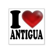"I Heart Antigua Square Sticker 3"" x 3"""