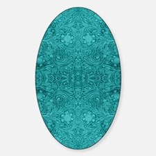 Leather Floral Turquoise Sticker (Oval)