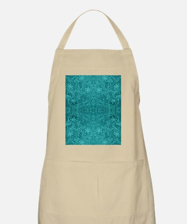 Leather Floral Turquoise Apron