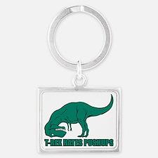 T-Rex Hates Pushups Landscape Keychain