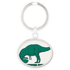 T-Rex Hates Pushups Oval Keychain