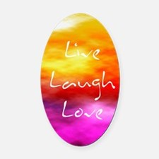 Live Laugh Love Journal Oval Car Magnet