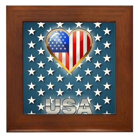 US Stars Framed Tile