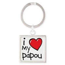 I Love My Papou Square Keychain