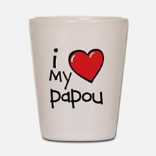 I Love My Papou Shot Glass