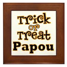 Trick or Treat Papou Framed Tile